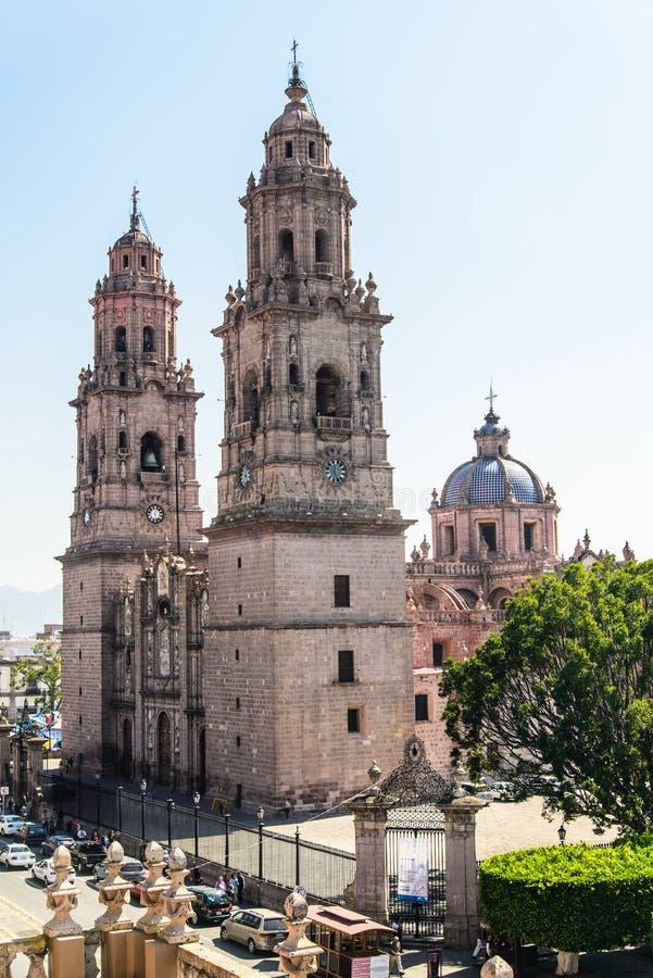 Morelia-Kathedrale in Michoacan Mexiko stockfotos