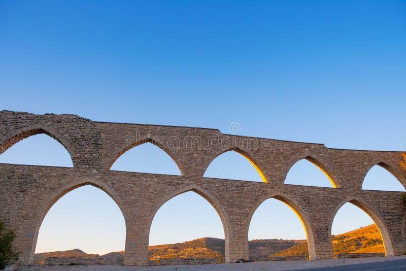 Morella aquaduct in Castellon Maestrazgo in Spanje royalty-vrije stock fotografie