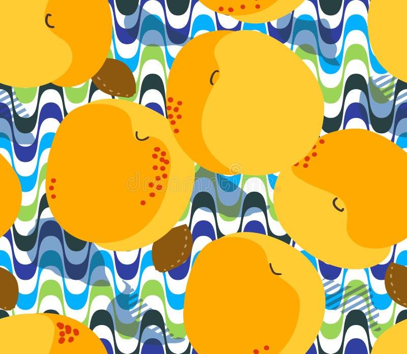 Morelowych owoc bezszwowy wzór Świeże morele, liście, kamienie ilustracja wektor
