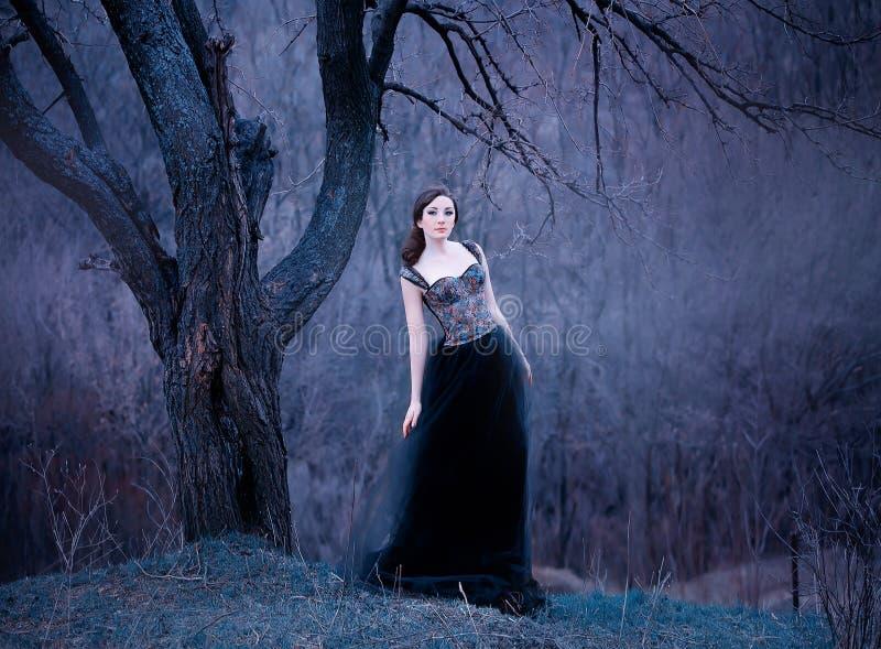 Morena atrativa lindo, senhora em um vestido preto longo com os braços e os ombros abertos desencapados, menina apenas no outono imagens de stock