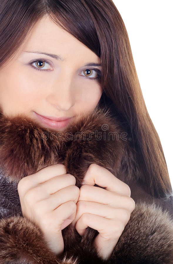 Morena bonita na pele sobre o branco fotos de stock royalty free