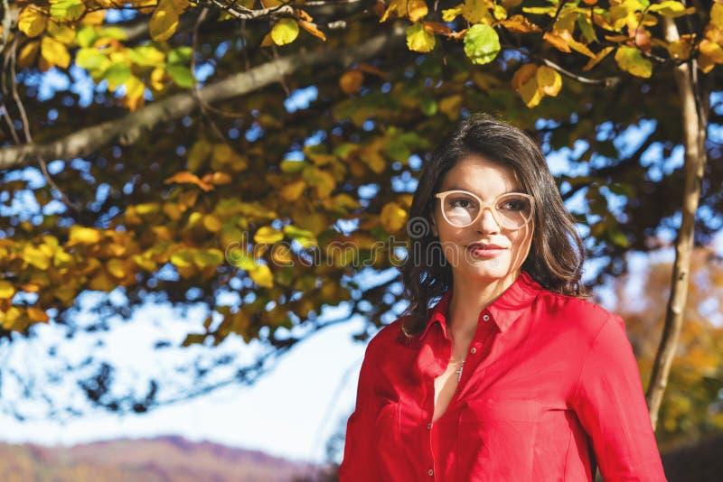 A morena bonita relaxa nas folhas perto de uma árvore fotos de stock