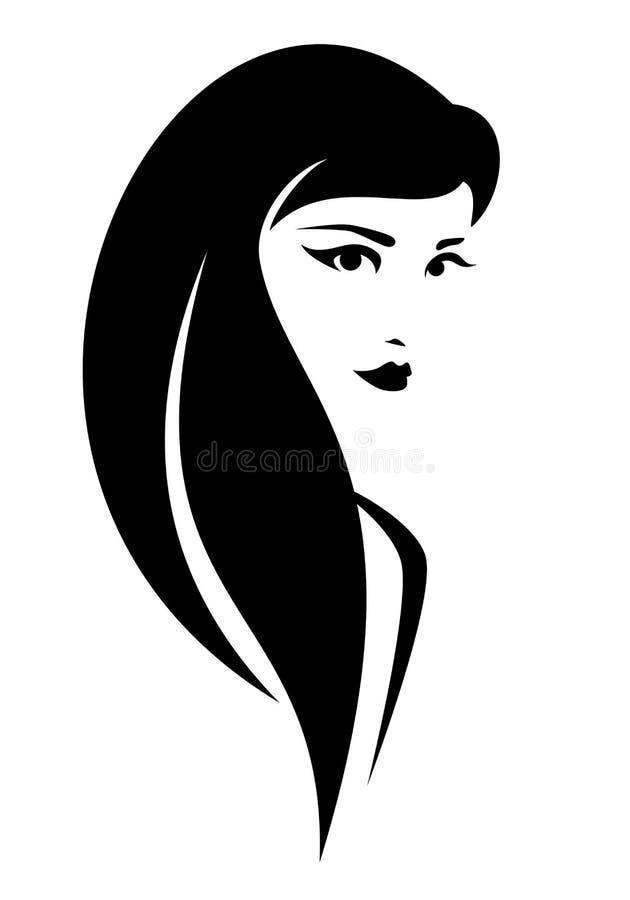 Morena com projeto longo do retrato do vetor do cabelo ilustração do vetor