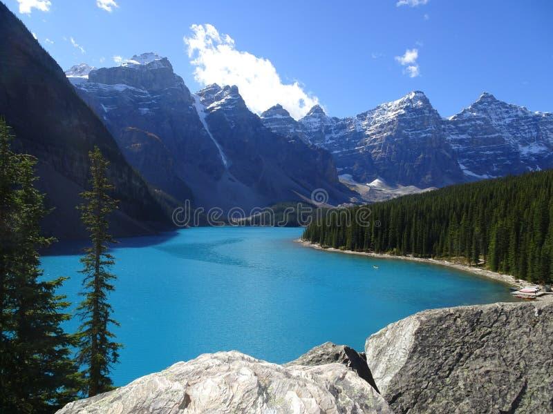 Morena jezioro w Banff parku narodowym, Alberta, Kanada fotografia stock