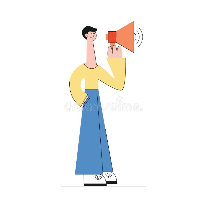 Morena masculina caucasiano nova nas calças e nos suportes da camiseta com um altifalante em suas mãos ilustração do vetor
