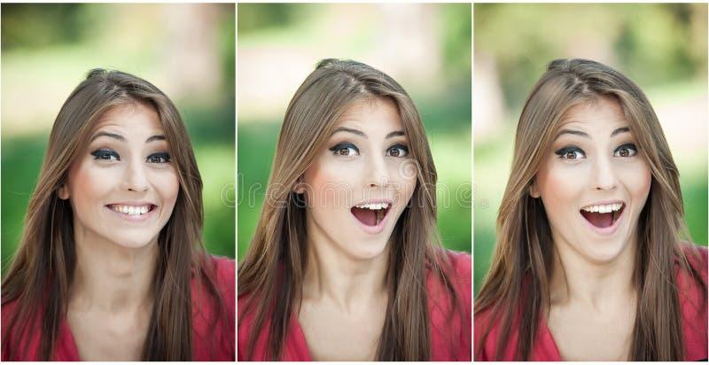 Morena natural genuína com cabelo longo no parque. Retrato da mulher atrativa com riso bonito dos olhos.  Jovem mulher alegre fotos de stock royalty free