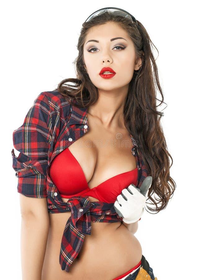 Morena 'sexy' em uma camisa de manta imagem de stock royalty free