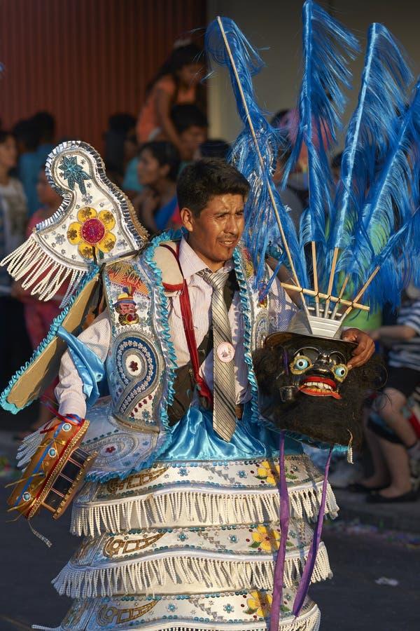 Morenada dansare på den Arica karnevalet i Chile arkivfoton