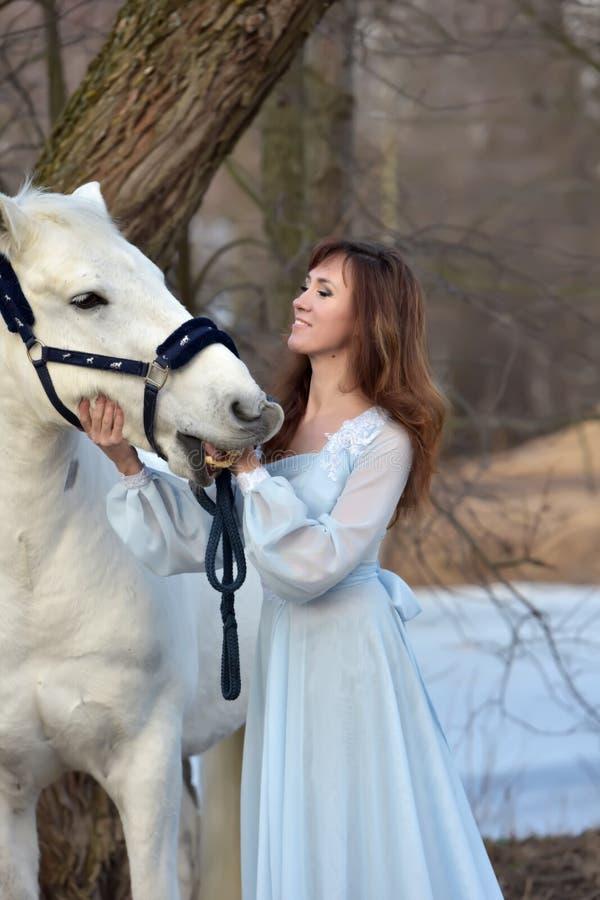Morenita encantadora en vestido azul claro con un caballo blanco imagenes de archivo