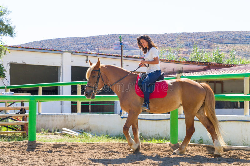 Morenita joven en un caballo marrón-rubio en foto de archivo