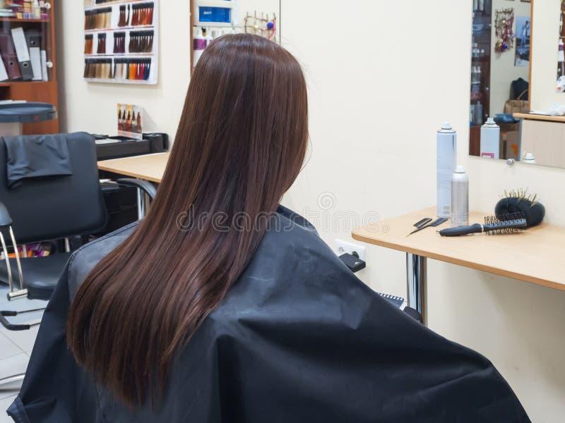 Morenita larga del pelo en peluquería fotografía de archivo