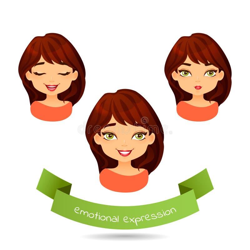 Morenita linda con diversas expresiones faciales libre illustration