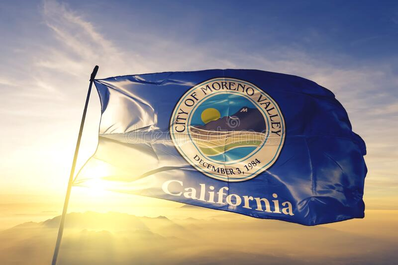 Moreno Valley of California of United States flag waving on the top. Moreno Valley of California of United States flag waving stock images