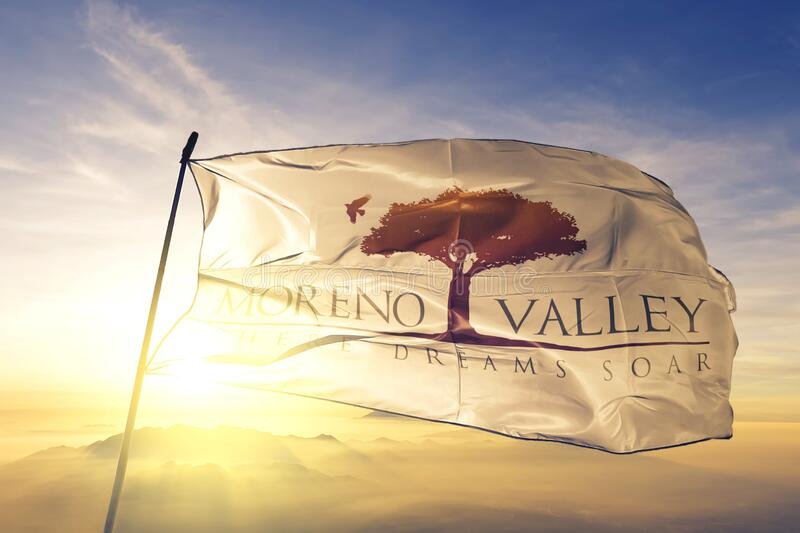Moreno Valley of California of United States flag waving on the top. Moreno Valley of California of United States flag waving royalty free stock photography