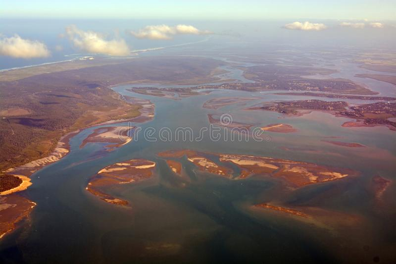 Moreton Bay Aerial View in Late Afternoon, Queensland Australia stock images
