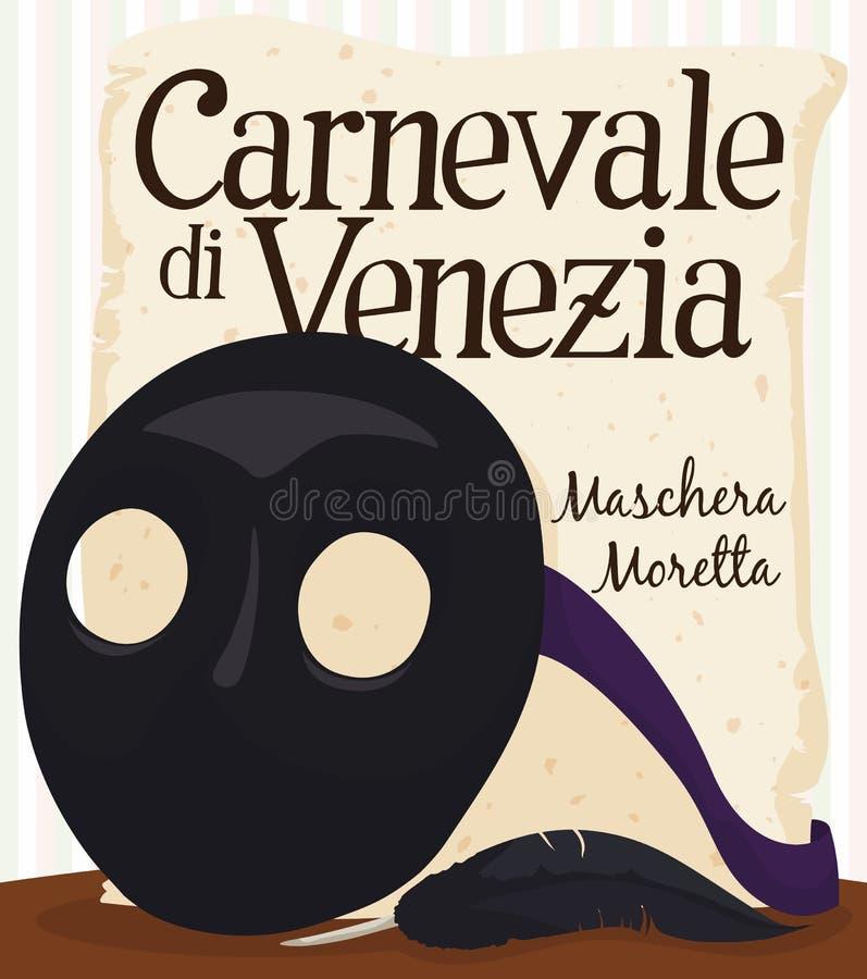Moretta maskering, fjäder och snirkel som firar minnet av Venedig karnevalberöm, vektorillustration vektor illustrationer