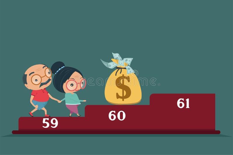 Morföräldern, den gamla höga mannen och den lyckliga avgången för kvinna får rika i plan stil som isoleras på blå bakgrund, vekto stock illustrationer