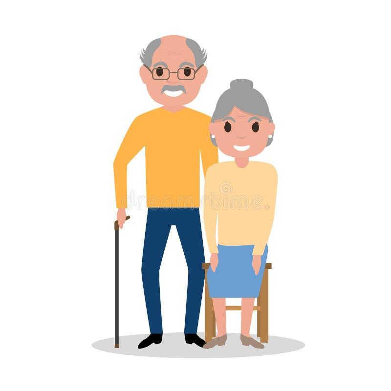 Morföräldrar för vektoråldringpar, åldrigt folk vektor illustrationer