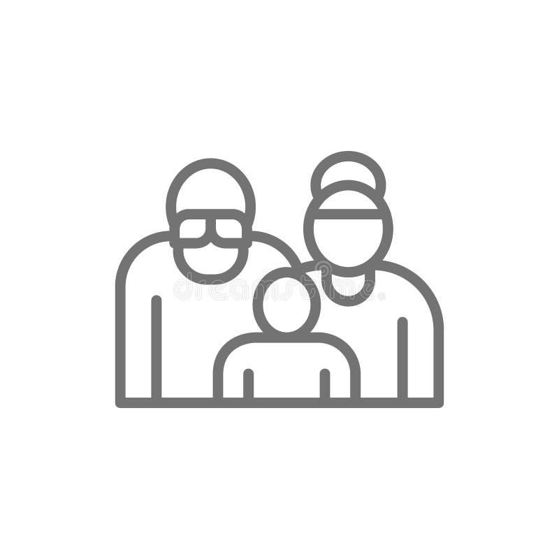 Morföräldrar med barnbarnet, par av pensionärer, pensionärer fodrar symbolen vektor illustrationer