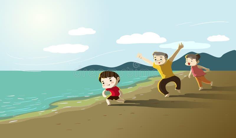 Morföräldrar med pojken på stranden royaltyfri illustrationer