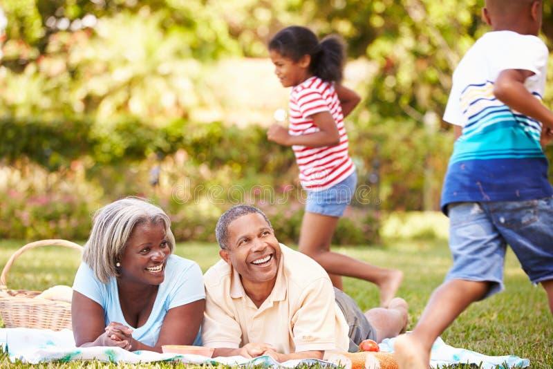 Morföräldrar och barnbarn som har picknicken i trädgård royaltyfria bilder