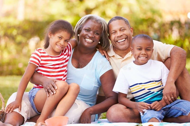 Morföräldrar och barnbarn som har picknicken i trädgård royaltyfri foto