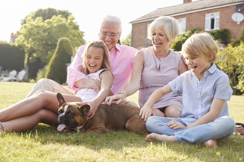 Morföräldrar och barnbarn som sitter i trädgård med hunden royaltyfria bilder