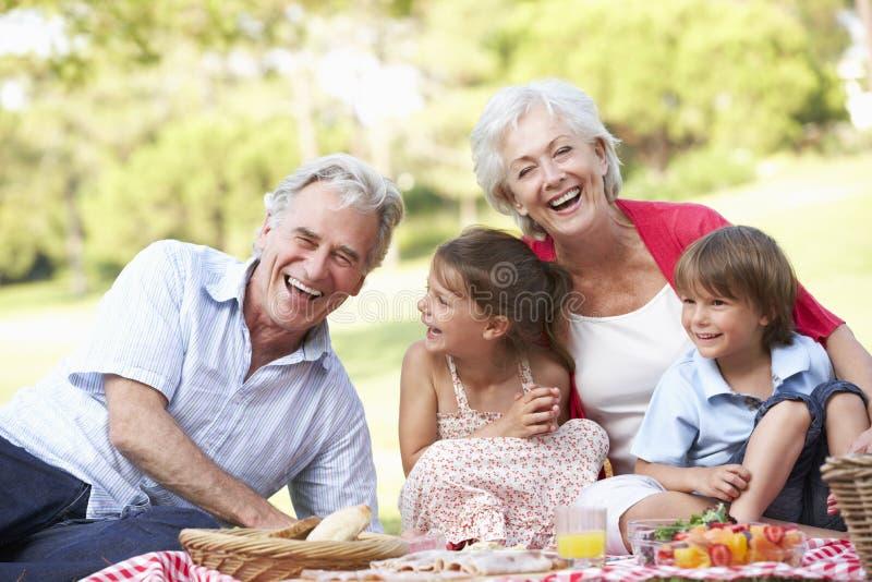 Morföräldrar och barnbarn som tillsammans tycker om picknicken arkivfoton