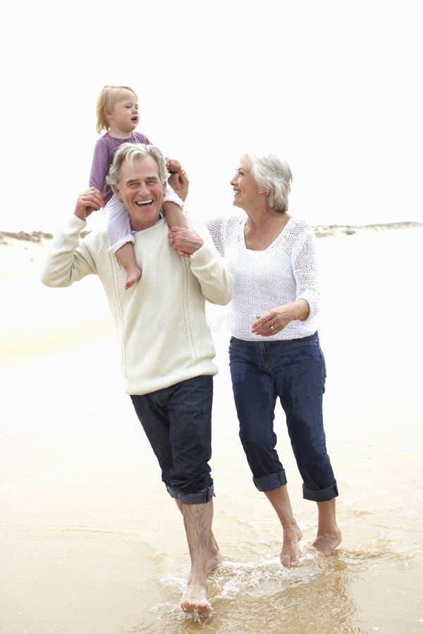 Morföräldrar och sondotter som tillsammans promenerar stranden arkivbilder