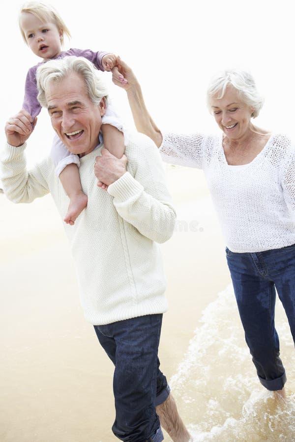 Morföräldrar och sondotter som tillsammans promenerar stranden royaltyfria foton