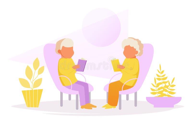 Morföräldrar sitter i stolar och läser stock illustrationer