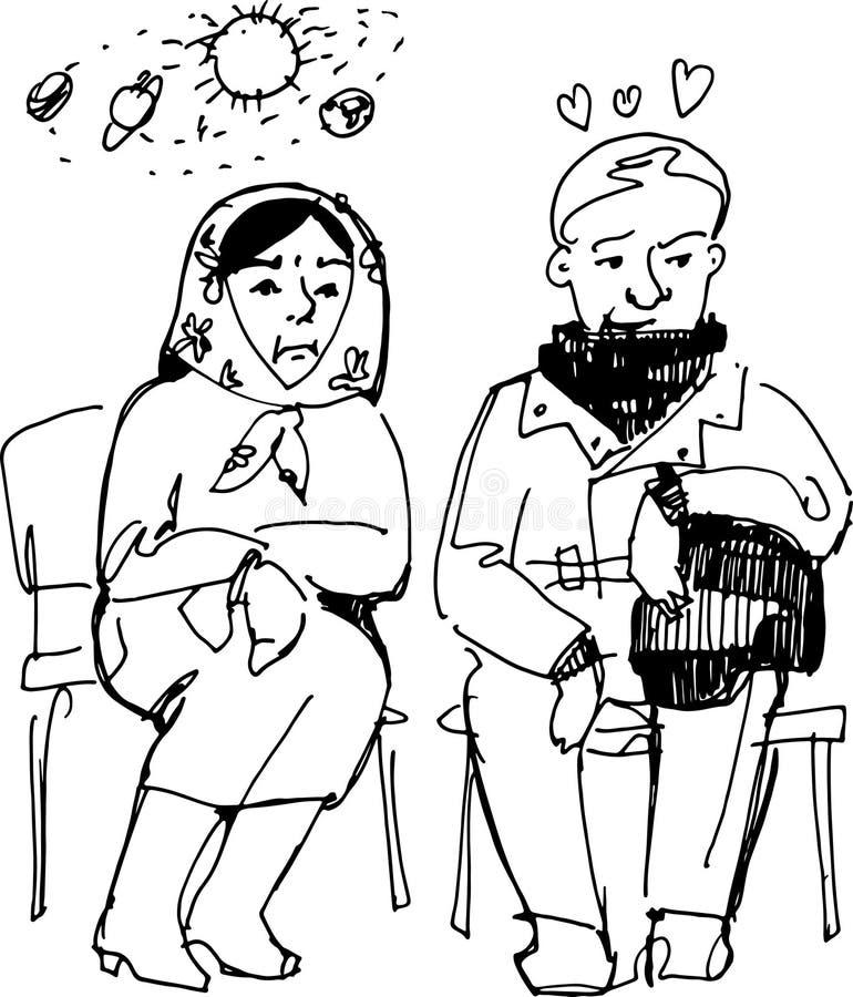 Morföräldrar sitter på stolar stock illustrationer