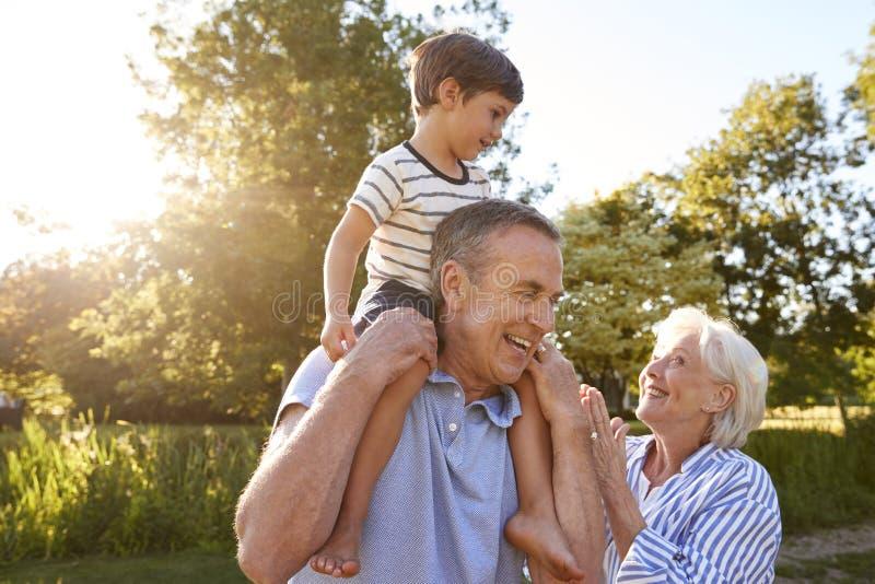 Morföräldrar som ger sonsonritt på skuldror i sommar, parkerar mot att blossa solen royaltyfria bilder