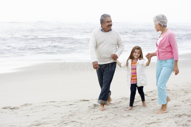 Morföräldrar som promenerar stranden med sondottern royaltyfria foton