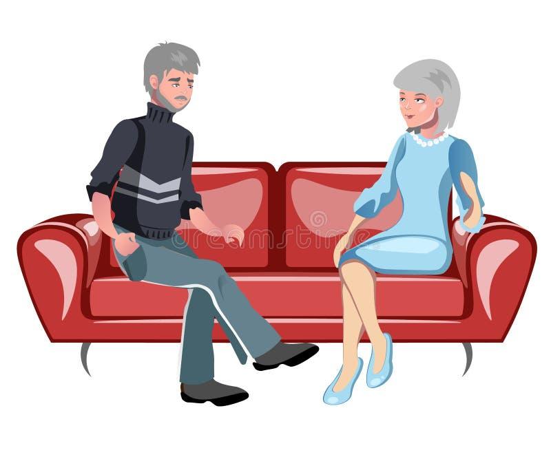 Morföräldrar som sitter på soffan stock illustrationer