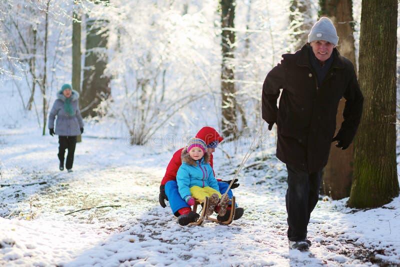 Morföräldrar som spelar med barnbarn i vinterskog royaltyfri bild
