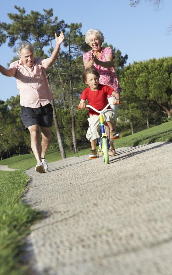Morföräldrar som undervisar sonsonen att rida cykeln parkerar in arkivbild
