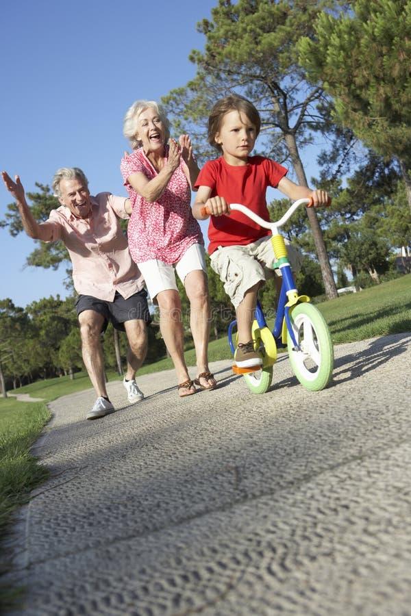 Morföräldrar som undervisar sonsonen att rida cykeln parkerar in arkivbilder