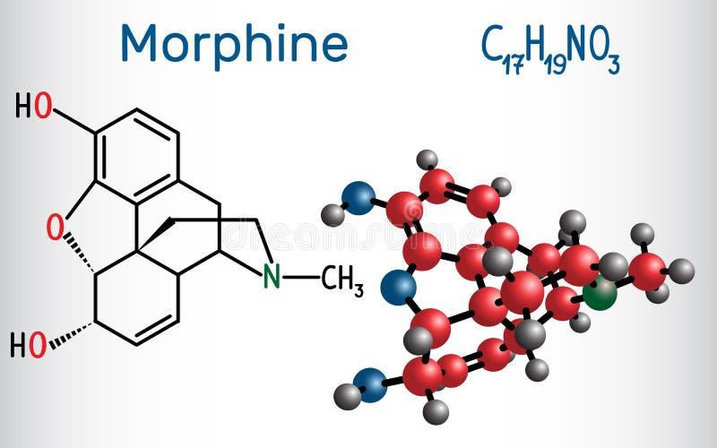 Morfinmolekyl Det är en smärtaläkarbehandling av opiatet Struct stock illustrationer