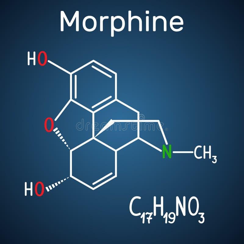 Morfinmolekyl Det är en smärtaläkarbehandling av opiatet Struct royaltyfri illustrationer