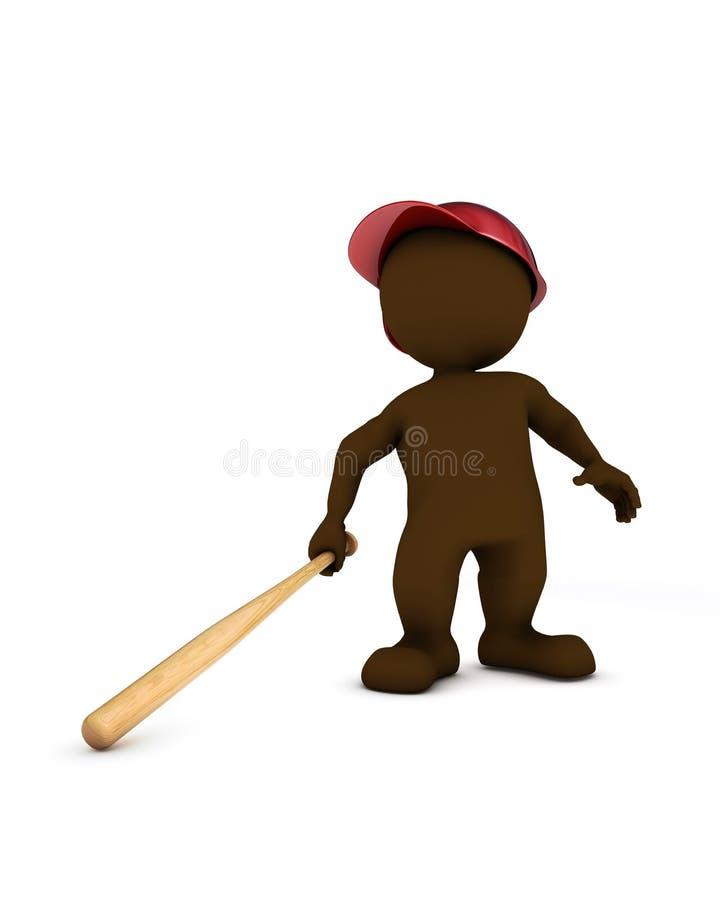 Morfman som spelar baseball stock illustrationer