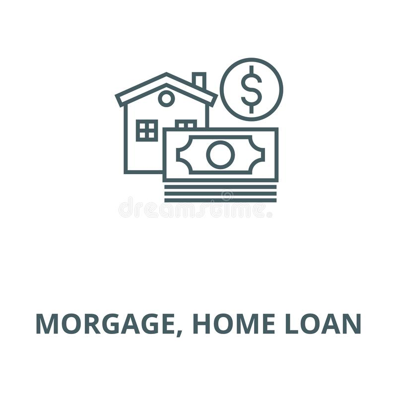 Morgage, home loan vector line icon, linear concept, outline sign, symbol. Morgage, home loan vector line icon, outline concept, linear sign stock illustration