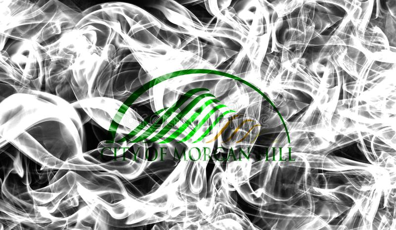Morgan Hill city smoke flag, California State, United States Of royalty free stock images