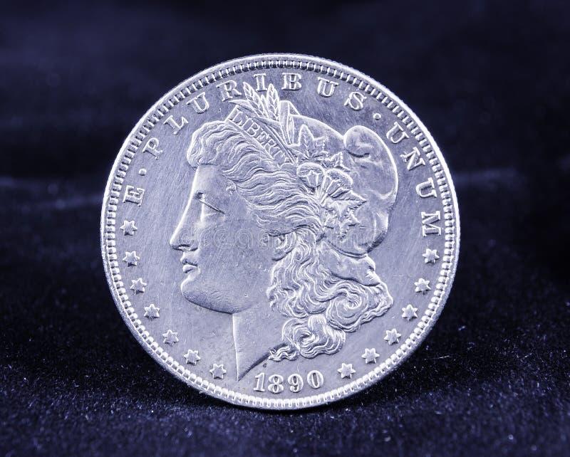 Morgan Silver Dollar 1890 fotografia de stock