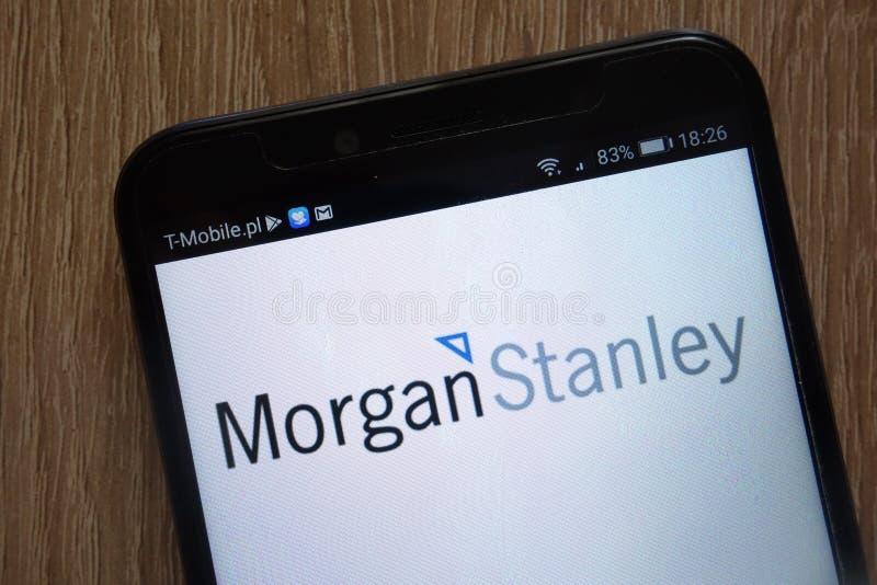 Morgan Stanley-embleem dat op een moderne smartphone wordt getoond stock foto's