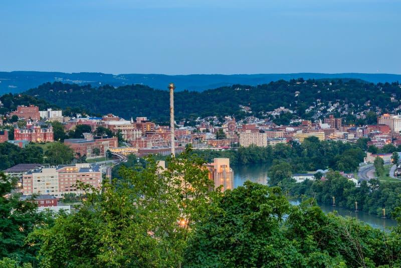 Morgantown du centre et Virginia University occidentale photos libres de droits