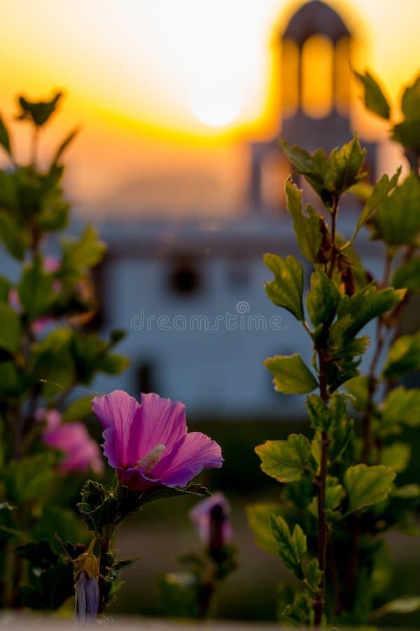 Morgen-Ansicht der Kirche in Zakynthos lizenzfreie stockfotos