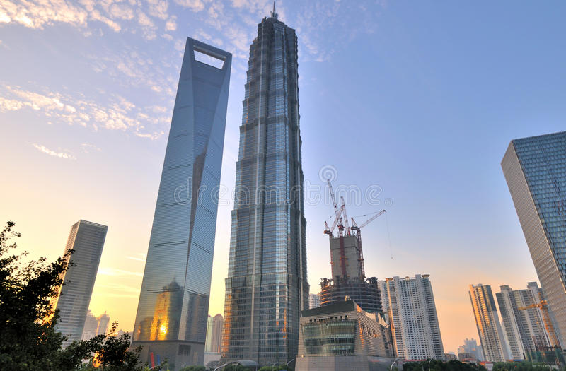 Morgen des Shanghai-Mittelhandelsbereiches lizenzfreies stockfoto