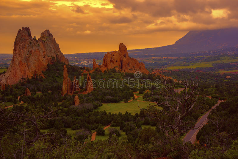 Morgen am Garten der Götter, Colorado lizenzfreie stockfotografie