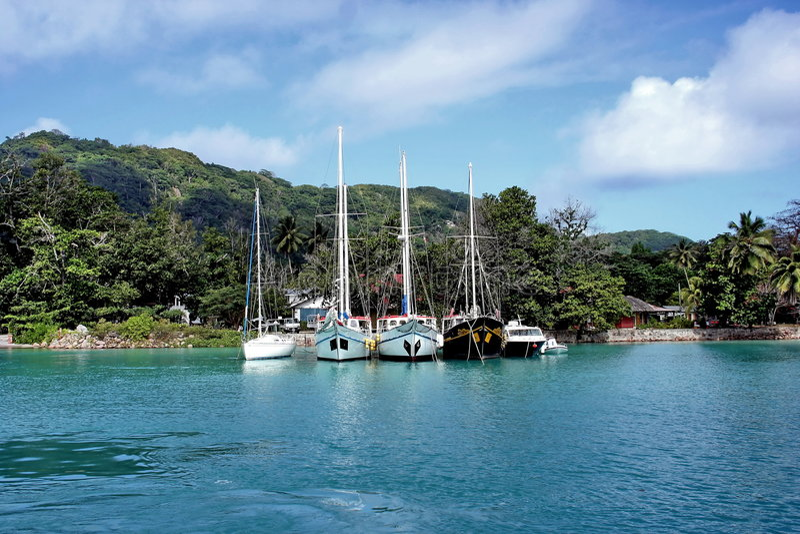 Morgen im tropischen Hafen. lizenzfreie stockfotos